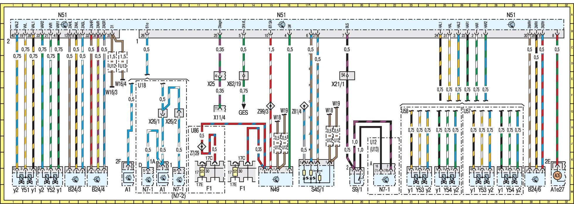 схема тормозной системы мерседес 210